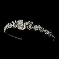 Antique Silver Clear Rhinestone Flower Rose Vine Bridal Tiara Headpiece Headband
