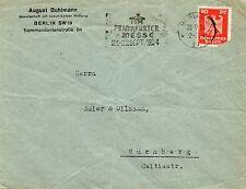 Alemania 1924 Cubierta comercial con eslogan cancelar para Frankfurt Messe