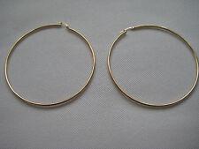 Large gold hoop earrings 9ct yellow gold tube 70mm diameter