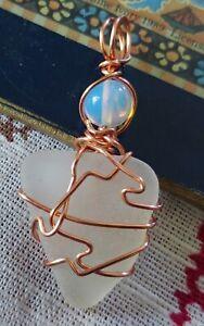 Chesapeake Bay Surf White Seaglass copper wire wrapped pendant / ornament #603