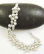 """4 Strand Mesh Bead Bracelet ~ .925 Sterling Silver ~ 7"""" Length ~ NEW"""