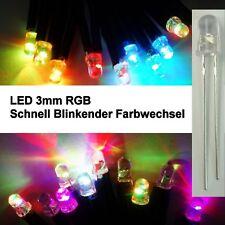 10 Stück LED 3mm RGB Rainbow Schneller Farbwechsel Modellbau Kirmesbeleuchtung