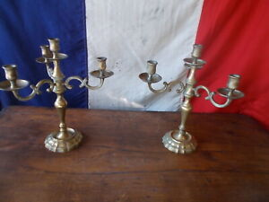 French Vintage 4 Arm Brass Gold Candelabra Ref T21/41,42