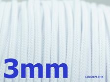 3mm x 1m White Braided polyester sleeve Cable Cover 3 weave High densely Diy