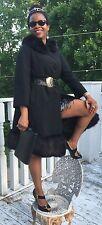 Designer Classy A line Black wool blend fox Fur trim Coat Jacket Stroller S 0-6