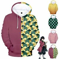 Anime Demon Slayer: Kimetsu no Yaiba 3D Hoodie Pullover Sweatshirt Coat Costume