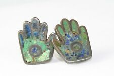 VINTAGE MEXICAN STERLING SILVER LOS CASTILLO AZURITE  HAND SCREW EARRINGS