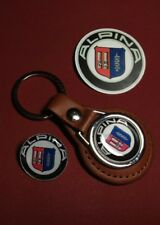 ALPINA (BMW), REAL LEATHER KEY RING,  BADGE + FREE PHONE STICKER