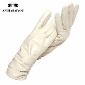 Genuine Leather Winter Gloves For Women Warm Cashmere Mitten Polyester Hand-Wear