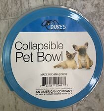 Duke's Collapsible Pet Bowl Dish Blue Hiking Walking Outdoor Water Food Bowl New