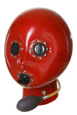 Inflatable latex rubber gummy hood with breath pipe and mirror eyes (L/XL)