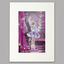 "Performance Ballerina Print women/girls lilac pink Mounted Wall Art A4 12"" x 16"""