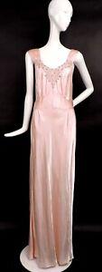 GLAMOUR 1930'S SLINKY PINK SATIN LONG DRESS W RHINESTONE ENCRUSTED LACE