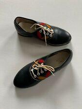 Vintage 1960s American Juniors Navy Floral Applique Saddle Shoes 11 Girl Leather