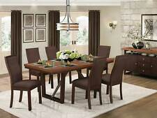 Modern Design Brown Finish 7pcs Dining Room Rectangular Table & Chairs Set IC4B