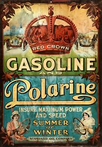 """RED CROWN GASOLINE AND POLARINE  9"""" x 12"""" SIGN"""