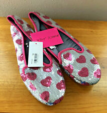 NWT $38 BETSEY JOHNSON Pink & Silver Sequin Beaded Heart Slippers Flats XL 11-12