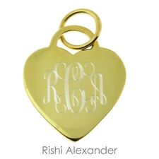 14k Gold Overlaying 925 Sterling Silver Monogram Personalized Heart Pendant