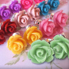 Small Cute Flower Rose Bud Stud Earrings. Vintage Colours One Gift Box per Order