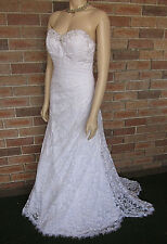 Alfred Angelo Strapless Bodice Trumpet Lace Wedding Dress ~ Size 12 ~ As New!