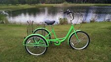 Green 6 Speed Adult Tricycle Brand New Big Seat/Basket Easy To Ride High Quality