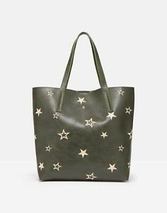 Joules Womens Cindy Pu Shopper With Star Embroidery - Khaki Green - One Size