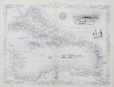 c1854 WEST INDIA ISLANDS WEST INDIES Genuine Antique Map by Rapkin FREE P&P