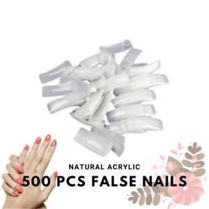 500Pcs False French Nail Tips Fake Nails Art Acrylic For Nail Gel Polish Natural