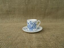Royal Crownford CHARLOTTE in Blue White DEMITASSE CHOCOLATE CUP SAUCER SET
