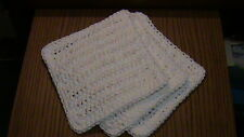 Hand Crochet Dish Cloth - White - Set of 3