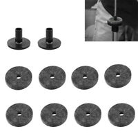 10pcs Hi Hat Cymbal 5cm 8x Felt Washers & 2x Sleeves Drum Accessories Kit Black