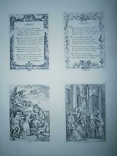 Planche gravure E de Lavallée Poussin 4 vignettes illustrations du voyage a Rome