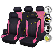Universal Car Seat Covers Set Black Pink Auto Breathable Seat Protector For Lady