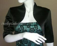 Black Satin Bolero/Shrug/Jacket/Stole/Tippet/Shawl/Wrap 3/4 Sleeves UK 4-26