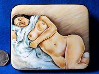 Rusa Laqueado Caja Pintado a Mano Sueño Desnudo Firmado Silantyeva