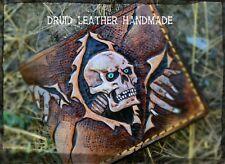 Skull Wallet, Skeleton wallet, Horror skull, Mens Leather wallet, Carved wallet