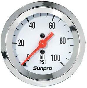 sunpro chrome  oil pressure gauge  rat rod race  circle track ford mopar chevy