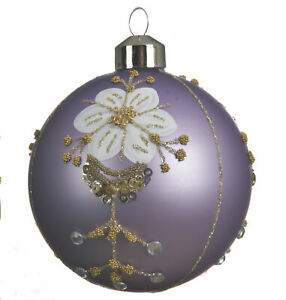 6 x Lilac Glass Christmas Tree Baubles Decorations with White Flower & Gold Trim