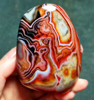 TOP 123.3G Natural Polished Silk Banded Lace Agate Crystal Madagascar WT773