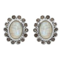 Rainbow Moonstone, Champagne Diamond 925 Sterling Silver Stud Earring SHER0443