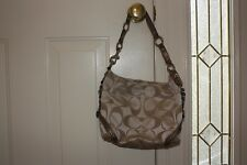 Coach Carly sateen brown patent leather handbag f15250