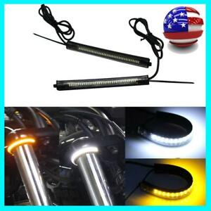 2pcs Switchback W/A LED Fork Turn Signal Daytime FOR Motorcycle DRL Light Strips