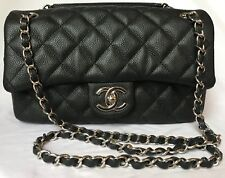 4558eeca9b9bdc Chanel Matelasse Calfskin Caviar Silver Metal Black Shoulder Flap Bag