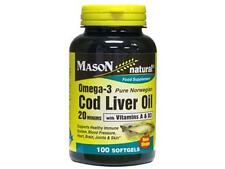 100 SOFTGELS Norwegian COD LIVER OIL 20 MINIMS 1000 mg W/ VITAMINS A & D OMEGA 3