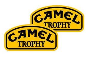 """2 Camel Trophy vinyl waterproof exterior stickers/decals  6""""x3""""  Free 1st class"""