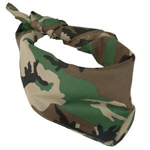 Des Bois Camo Coton Bandana - 100% Armée Camouflage Militaire Foulard Écharpe