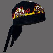 COTTON FLAMES SKULLS BIKER HEAD WRAP  CAP