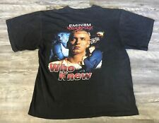 "Vintage Eminem Bootleg Rap Tee ""Who Knew"" T Shirt Double Sided Size L Black"