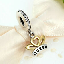 Queen Silver CZ European Charm Beads Fit 925 Pendant Necklace Bracelet