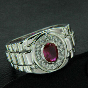 Men's Bold and Brilliant Engagement Wedding Halo Ring 14K White Gold 1.59Ct Ruby